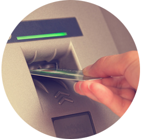 atm card being placed in machine